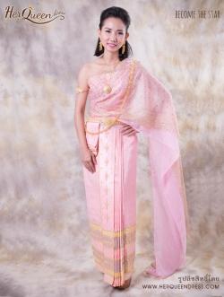 เช่าชุดแต่งงาน &#x2665 ชุดไทยเจ้าสาว สไบผ้าเนื้อบางพริ้ว เกล็ดทองเล็ก สวยหวาน ซิ่นจับหน้านางระบาย 9 ชั้น - สีชมพู
