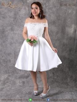 เช่าชุดแต่งงาน &#x2665 ชุดเจ้าสาวสั้น เดรสออกงาน ลูกไม้ไหล่ปาด กระโปรงจีบรอบตัว - สีขาว