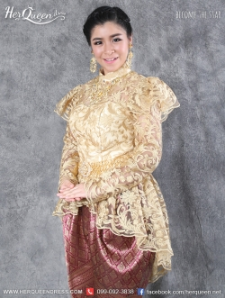 เช่าชุดไทยเจ้าสาว &#x2665 ชุดไทย ร.5 เสื้อลูกไม้แขนยาวสีทอง พร้อมโจงกระเบน