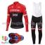 ชุดจักรยานแขนยาวทีม Trek 17 (02) สีแดงดำ กางเกงเอี๊ยม