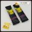 หุ้มเบลท หุ้มสายรัดเข็มขัดนิรภัย ปิกกาชู โปเกมอน pikachu pokemon หนังสีดำ Seat belt Cover