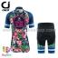 ชุดจักรยานผู้หญิงแขนสั้นขาสั้น CheJi 16 (01) สีน้าเงิน ลายดอกไม้ Recing is life สั่งจอง (Pre-order) thumbnail 2