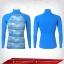 Body Fit เสื้อรัดรูป คอตั้ง แขนยาว สีพื้นหลังฟ้า - ลายฟ้า thumbnail 1