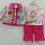 Baby Q : ชุดเซ็ท 3 ชิ้น เสื้อกันหนาวผ้าสำลีสีครีมลายดอกไม้ปักผีเสื้อ พร้อม เสื้อแขนยาวสีชมพูและกางเกงขายาว thumbnail 1