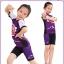 ชุดจักรยานเด็กแขนสั้นขาสั้น CheJi สีม่วง thumbnail 2