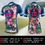 ชุดจักรยานผู้หญิงแขนสั้นขาสั้น CheJi 16 (01) สีน้าเงิน ลายดอกไม้ Recing is life สั่งจอง (Pre-order) thumbnail 6