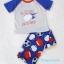 Carter's : ชุดเสื้อ สกรีนลาย SLIDING INTO BEDI สีเทา+ กางเกงพิมพ์ลายบอล size 5T thumbnail 1
