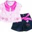 Baby Q : ชุดเสื้อแขนสั้นลายตารางสีชมพูปักดอกไม้ size 3T thumbnail 1