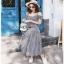 Chic Ruffle Checked Lady Ribbon Cotton Dress thumbnail 4