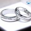แหวนคู่รักเงินแท้ เพชรสังเคราะห์ ชุบทองคำขาว รุ่น LV14101411 Lover B&G