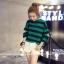 เสื้อแฟชั่นสไตล์เกาหลี แขนยาวแต่งขาดศอก ลายขวาง สีเขียว thumbnail 2