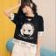 เสื้อแฟชั่นเกาหลี คอวีแต่งไขว้ ลายการ์ตูน สีดำ thumbnail 3