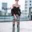 กางเกงยีนส์แฟชั่น 750# ยีนฟอกร้อยเชือก