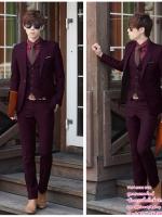 ชุดสูทเจ้าบ่าว,สูทผู้ชาย สีแดงไวน์ พร้อมส่ง XL **สูท+กางเกง** (สามารถสั่งเสื้อกั๊กเพิ่มได้)