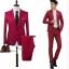 สูท,ชุดสูทชาย แฟชั่น ผ้าโพลีเอสเตอร์ กางเกงขากระบอกเล็ก สีแดง XL *สูท+กางเกง* thumbnail 2