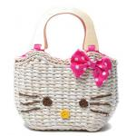 BS28002 กระเป๋าสาน หน้า Hello Kitty แบบ B (หูไม้)