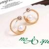สวยใสสไตล์เกาหลีด้วย Circle Pearl Gold Earing ต่างหูสีทองรูปวงกลมแต่งมุก