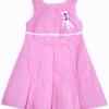ชุดกระโปรง (เด็กโต) ผ้าคอตตอนแท้ cotton 100% สีชมพู จีบทวิส ลายจุดขาว ติดโบว์น่ารักๆ งานพิมพ์อย่างดี size 8-12 ปี