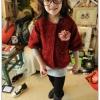 (Pre) เสื้อไหมพรม แขนห้าส่วน ผ่าหน้า สีแดง