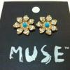 Muse Crystal Flower Brand Earing ต่างหูรูปดอกไม้แต่งคริสตัล แบรนด์ยุโรป