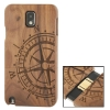 Woodcarving Ship Navigation Wheel Pattern Black Pear Wood Material Case เคส Samsung Galaxy Note 3 (III) / N9000 ซัมซุง กาแล็คซี่ โน๊ต 3
