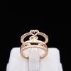 Gold Love Heart Open Ring แหวนแถวแฟชั่นโลหะชุบทองคำรูปหัวใจปลายเปิด สไตล์เกาหลี