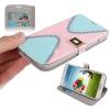 Case เคส Cross 2-color แบบพลิกแนวนอน Samsung GALAXY S4 IV (i9500) (Pink + Baby Blue)