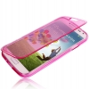 Case เคส Flip Translucent Protection TPU สีชมพู Samsung GALAXY S4 IV (i9500)