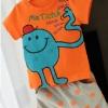 ชุดเซ็ทหนุ่มน้อย เสื้อส้ม สกรีนลายตุ๊กตาสีฟ้า + กางเกงเทาจุดส้ม ผ้านิ้มนิ่ม งานสวย คุณภาพดี น่ารักมากค่ะ size 5-13