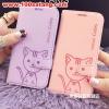 (391-027)เคสมือถือซัมซุง Case Samsung S6 เคสนิ่มสมุดเปิดข้างลายแมวน่ารักๆ DOMI CAT