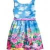 H&M (ชนเว็บ) ชุดกระโปรงโทนสีฟ้า ลายก้อนเมฆและดอกไม้ สดใส มีซับใน มาพร้อมเข็มขัดสีชมพู น่ารักที่สุดค่ะ size 1-14