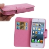 Case เคส Grid Pattern Button Flip Holster for iPhone 5 (Pink)