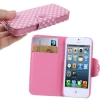 Case เคส Dot Pattern Button Flip Holster for iPhone 5 (Pink)