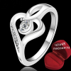 ฟรีกล่อฃแหวน R902 แแหวนเพชรCZ ตัวเรือนเคลือบเงิน 925 หัวแหวนรูปหัวใจ ขนาดแหวนเบอร์ 7