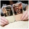 (025-704)เคสมือถือไอโฟน Case iPhone 6Plus/6S Plus เคสขอบนิ่มพื้นหลังแววกึ่งกระจกมีแหวนมือถือรูปหมี