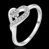 R903 แแหวนเพชรCZ ตัวเรือนเคลือบเงิน 925 หัวแหวนรูปหัวใจ ขนาดแหวนเบอร์ 7