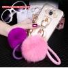 (022-076)เคสมือถือซัมซุง Case Samsung A8 เคสพลาสติกใส DIY พู่ห้อยน่ารักๆ
