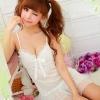 2in1 Sexy Princess Dress ชุดนอนเซ็กซี่ผ้ามันลื่นสีขาวแต่งโบว์ที่อก ระบายชาย พร้อมจีสตริง