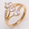 แหวนเคลือบทองคำ 14K หัวแหวน 3 White Sapphire, Oval Cut ขนาดแหวนเบอร์ 7.5