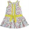 ชุดกระโปรง (เด็กโต) ผ้าคอตตอนแท้ cotton 100% สีเหลือง ลายถุงเท้าหลากสี แต่งสาปและเอวสีเหลือง ลายจุด งานพิมพ์อย่างดี size 8-12 ปี