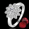 ฟรีกล่องแหวน R878 แหวนเพชรCZ ตัวเรือนเคลือบเงิน 925 หัวแหวนรูปดอกไม้แต่งเพชร ขนาดแหวนเบอร์ 7