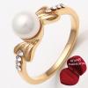 ฟรีกล่องแหวน แหวนเคลือบทองคำ 14K หัวแหวนแต่งมุก ขนาดแหวนเบอร์ 7.5