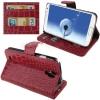 Case เคส หนังจระเข้ สีแดงเข้ม Samsung GALAXY S4 IV (i9500)