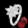 ฟรีกล่องแหวน R877 แหวนเพชรCZ ตัวเรือนเคลือบเงิน 925 หัวแหวนรูปดอกไม้แต่งเพชร ขนาดแหวนเบอร์ 7