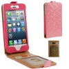 Case เคส Luxury Series Flower Pattern Vertical Style Genuine Leather Case iPhone 5 (Pink)