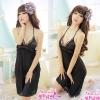 2in1 Sexy Dress ชุดนอนเซ็กซี่ผ้ามันลื่นสีดำแต่งลูกไม้สุดหรู+จีสตริง