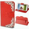 Case เคส Luxury Diamond Encrusted Snakeskin Samsung Galaxy Grand Duos (i9082)(Red)
