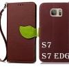 (027-522)เคสมือถือซัมซุง Case Samsung Galaxy S7 เคสนิ่มสไตล์สมุดเปิดข้างรูปใบไม้