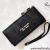 กระเป๋าสตางค์นำเข้าใบยาว สีดำ ขนาด 2 พับ พร้อมสายคล้องมือ หนัง PU แต่งโบว์ประดับเพชรด้านบน ดีไซน์หรู