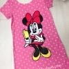 (เด็กโต) เดรสผ้ามินนี่เมาส์ (Minnie Mouse) ลายจุด สีชมพู ด้านหลังแต่งลูกไม้เก๋ๆ ผ้าใส่สบาย size 13-17 ( 8-15 ปี)
